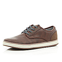 Brown flecked lace chunky sole trainers