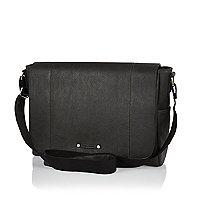 Grey flapover satchel textured messenger bag