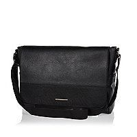 Black flapover satchel messenger bag
