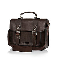 Brown buckle contrast panel satchel bag