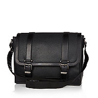 Black pebbled textured satchel bag