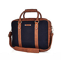 Navy and brown work bag