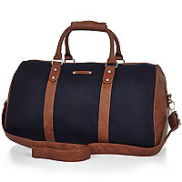 Navy brown trim holdall