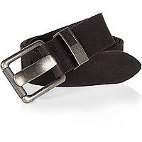 Black leather chunky buckle belt