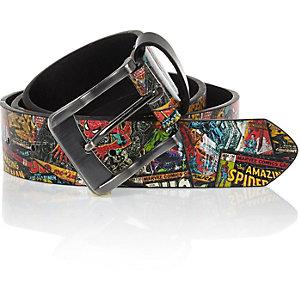 Black Marvel Spiderman printed belt