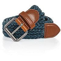 Teal blue woven belt