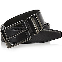 Black gunmetal tone buckle belt