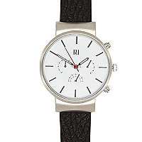 Black classic silver tone face watch