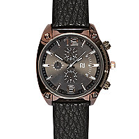 Black pebbled strap rose gold tone watch