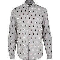 Grey character printed long sleeve shirt