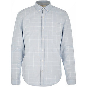 Blue and white long sleeve check shirt