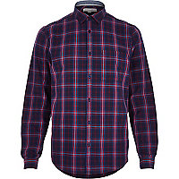 Purple woven checked shirt