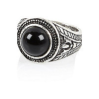 Silver tone black stone ring