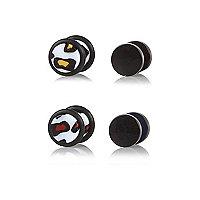 Black leopard print plug earrings pack