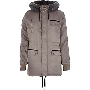 Grey faux fur trimmed parka jacket
