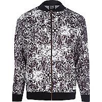 Black New Love Club print bomber jacket