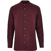 Purple long sleeve grandad collar Oxford shir