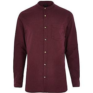 Purple long sleeve grandad collar Oxford shir