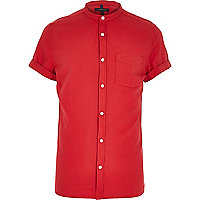 Red grandad collar Oxford shirt