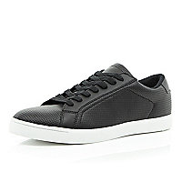 Black perforated lace up trainers