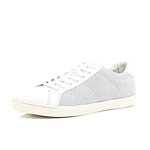 White suede lace up trainers