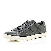 Grey suede lace up trainers