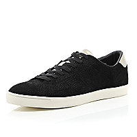 Black textured lace up trainers