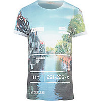 White Amsterdam luggage tag print t-shirt