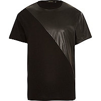 Black leather-look panel t-shirt