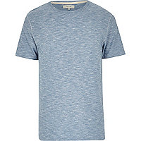 Blue marl curved hem crew neck t-shirt