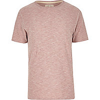 Pink marl curved hem crew neck t-shirt