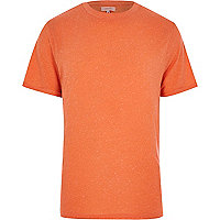 Orange neppy roll sleeve t-shirt