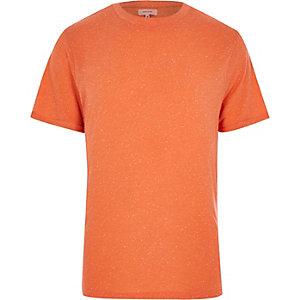 Orange neppy roll sleeve t-shirt