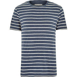 Navy acid wash stripe t-shirt