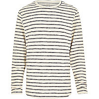 Ecru stripe loopback long sleeve top