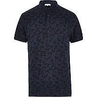 Navy washed leaf print polo shirt