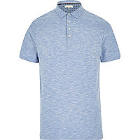 Blue marl textured polo shirt