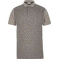 Grey textured print front polo shirt