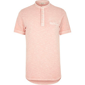 Pink washed grandad top