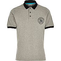 Grey Boxfresh contrast collar polo shirt