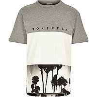 Grey Boxfresh block palm tree print t-shirt
