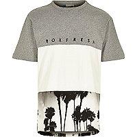 Grey Boxfresh block palm tree print t-shirt