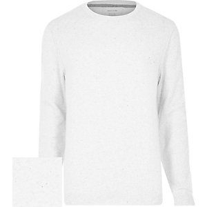 Grey flecked knitted crew neck jumper