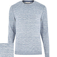 Blue marl knitted crew neck jumper