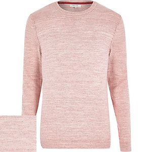Pink marl knitted crew neck jumper