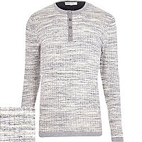 Grey ribbed grandad jumper