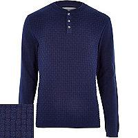 Blue basket weave knitted grandad top