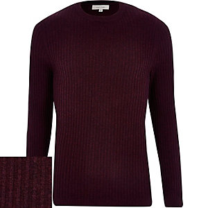 Red ribbed long sleeve crew neck jumper