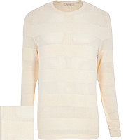Ecru mesh stripe crew neck jumper