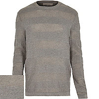 Grey mesh stripe crew neck jumper